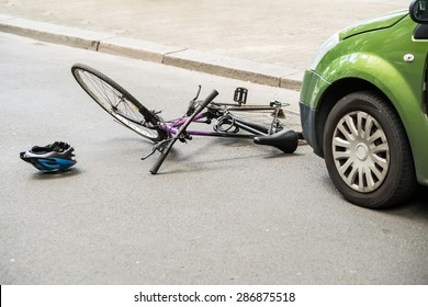 Close-up Of A Bicycle Accident On The City Street