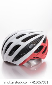 Close-up Of Bicycle Helmet  On White Background