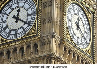 A closeup of Big Ben's clock face