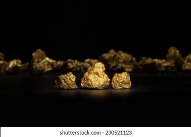 Closeup of big gold nuggets