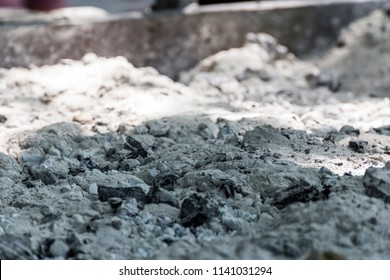 Close-up of a big pile of burnt charcoal ash