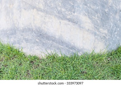 Closeup big rock for decoration on green grass in the garden texture background