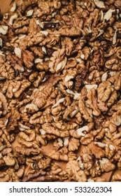 Closeup of big shelled walnuts pile
