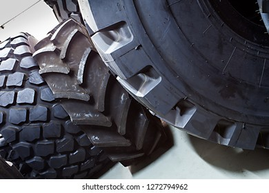 closeup of big tires for large trucks  and heavy duty vehicles