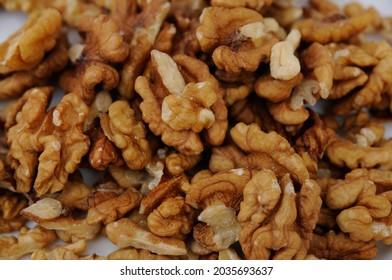 Closeup of big walnuts pile