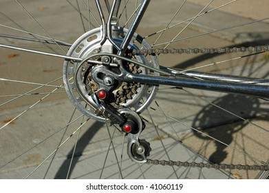 Close-up of bike gears