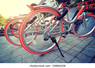 closeup of bike sharing in china