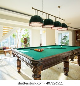 Close-up of billiard table in luxury living room