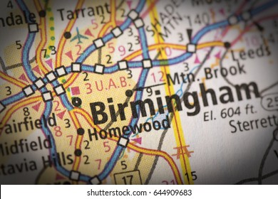 Closeup of Birmingham, Alabama on a road map of the United States.