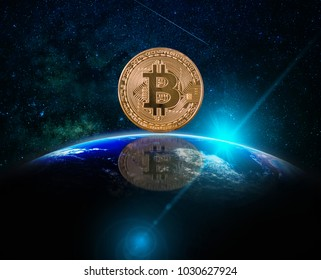 Closeup Bitcoins mockup with reflection over the Part of earth with sun rise and lens flare over the Milky Way background, cryptocurrency high risk concept, Elements of this image furnished by NASA