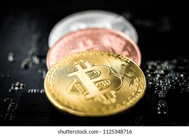 Close-up of bitcoins on microcircuit