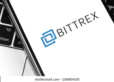 closeup Bittrex cryptocurrency exchange logo on the screen smartphone. Moscow, Russia - March 26, 2019