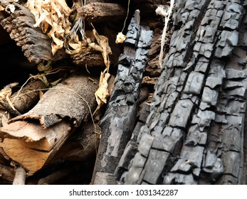 Closeup black charcoal with wood branch dried,Firewood from natural