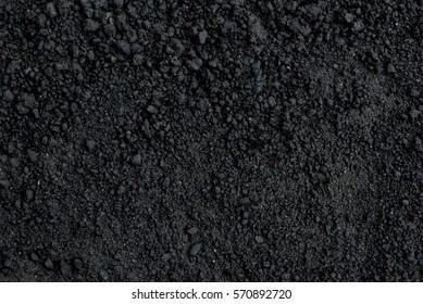 Closeup Black color soil texture