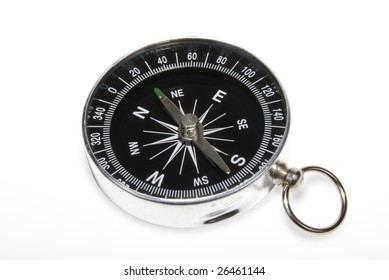 Closeup black compass on a white background
