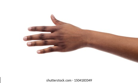 Closeup Of Black Female Hand Isolated On White Background. Panorama, Copy Space