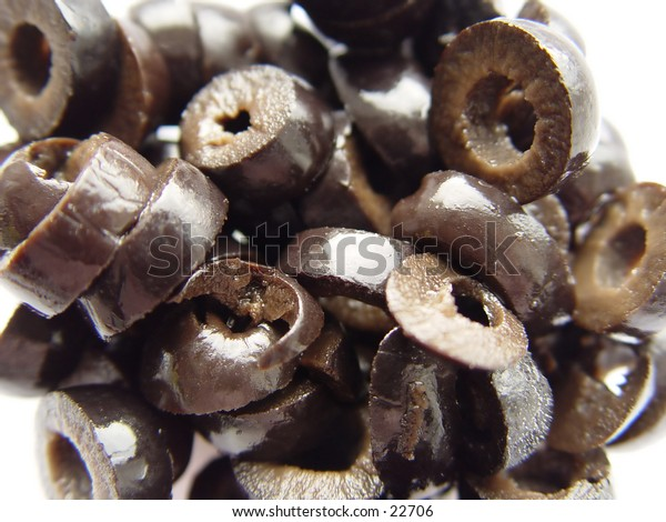 Closeup of Black Olives, macro