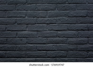 Closeup of Black Painted Brick Wall with Grungy Texture