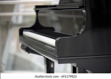 Close-up of black piano