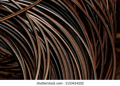 Close-up black and red color wire electric cable.