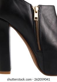 Close-up black shoes isolated on white background