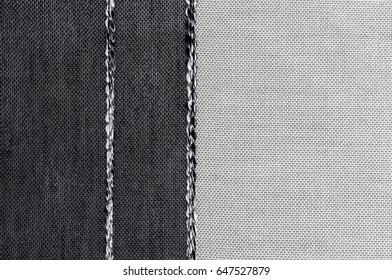 Closeup black and white color fabric texture. Strip line fabric pattern design or upholstery abstract background.