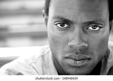 CLoseup black and white image of an african american man