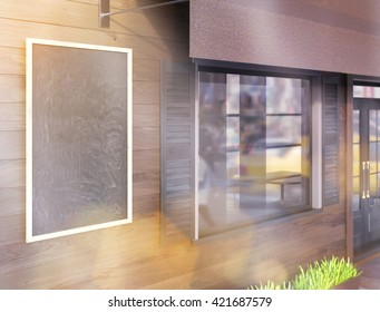 Closeup of blank chalkboard on brown plank cafe exterior. Toned image. Mock up, 3D Rendering