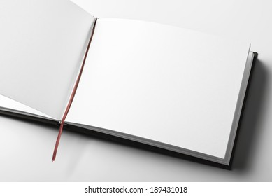 Close-up of blank open book.