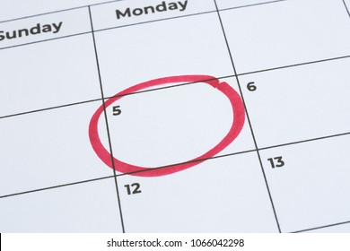 Closeup blank planner calendar, minimal style. Focus on the red circle mark on timetable date 5th. Important day, notification, reminder note, business timeline schedule, project management.