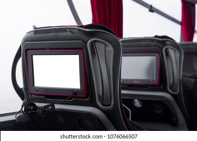 Closeup Blank Screen LCD rear seat on the bus technology for entertainment. Digital MockUp or DMU is a concept that allows the description of a product. Copy space for text area.
