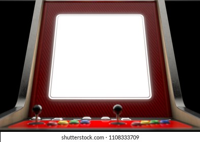A closeup of a blank screen of a vintage arcade game machine with colorful controllers on an isolated background - 3D render