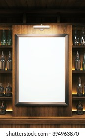 Closeup of a blank whiteboard in pub interior. Mock up, 3D Render
