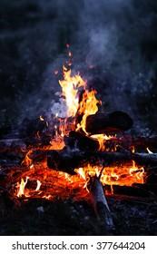 Closeup of blazing campfire coals in the night