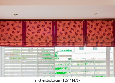 Closeup blind, curtain, sun protection with glass window.