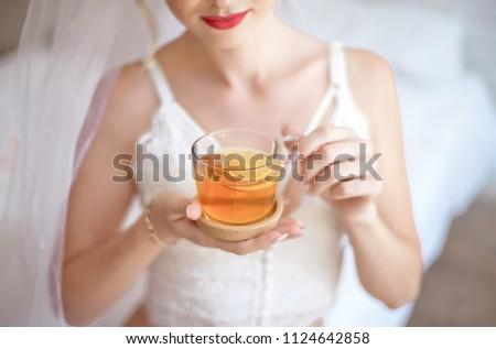 da5d151ad31 Closeup Blonde Bride Drinking Morning Tea Stock Photo (Edit Now ...