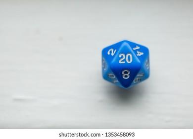 Closeup of Blue D20 Dice