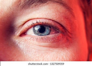 Close-up blue eye of a woman with a tear. People and emotions concept