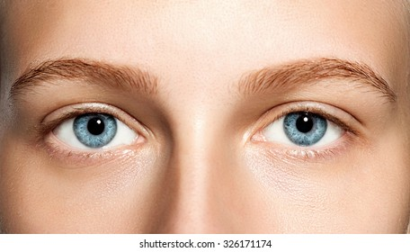 Closeup of blue eyes woman without makeup