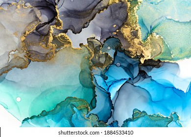 Closeup of blue, grey and shiny golden alcohol ink abstract texture, trendy wallpaper. Art for design project as background for invitation or greeting cards, flyer, poster, wrapping paper