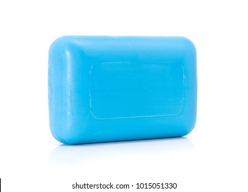 Closeup of blue hygiene toilet soap isolated on white background