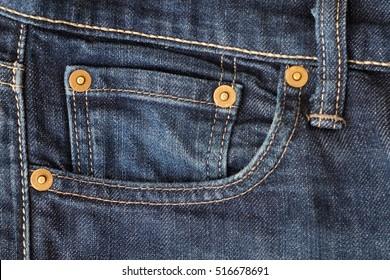 Close-up of a blue jeans denim pocket