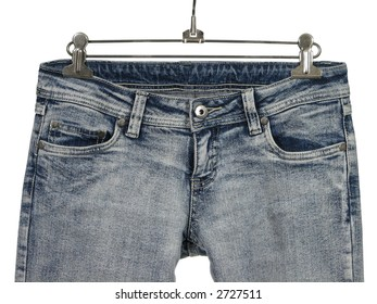 Closeup of blue jeans / shirts with pockets. Isolated on white.
