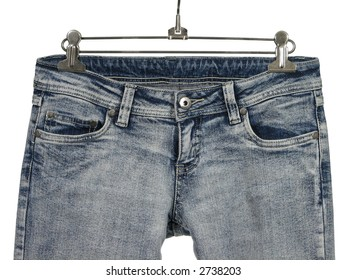 Closeup of blue jeans / shirts with pockets.