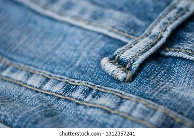 closeup of blue jeans texture