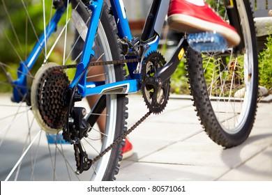 close-up of a blue mountain bike