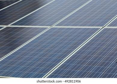 Closeup of blue photovoltaic solar panels