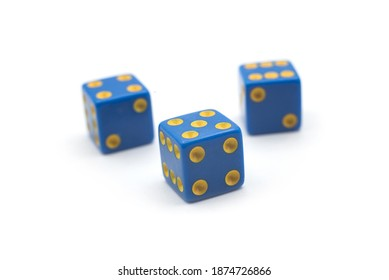 Closeup of blue roll dices on white background