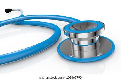 closeup of a blue stethoscope (3d render)