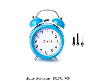 Close-up of blue Table Alarm Clock on White Background